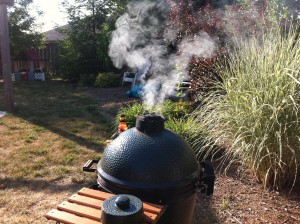 Smoke from the Big Green Egg