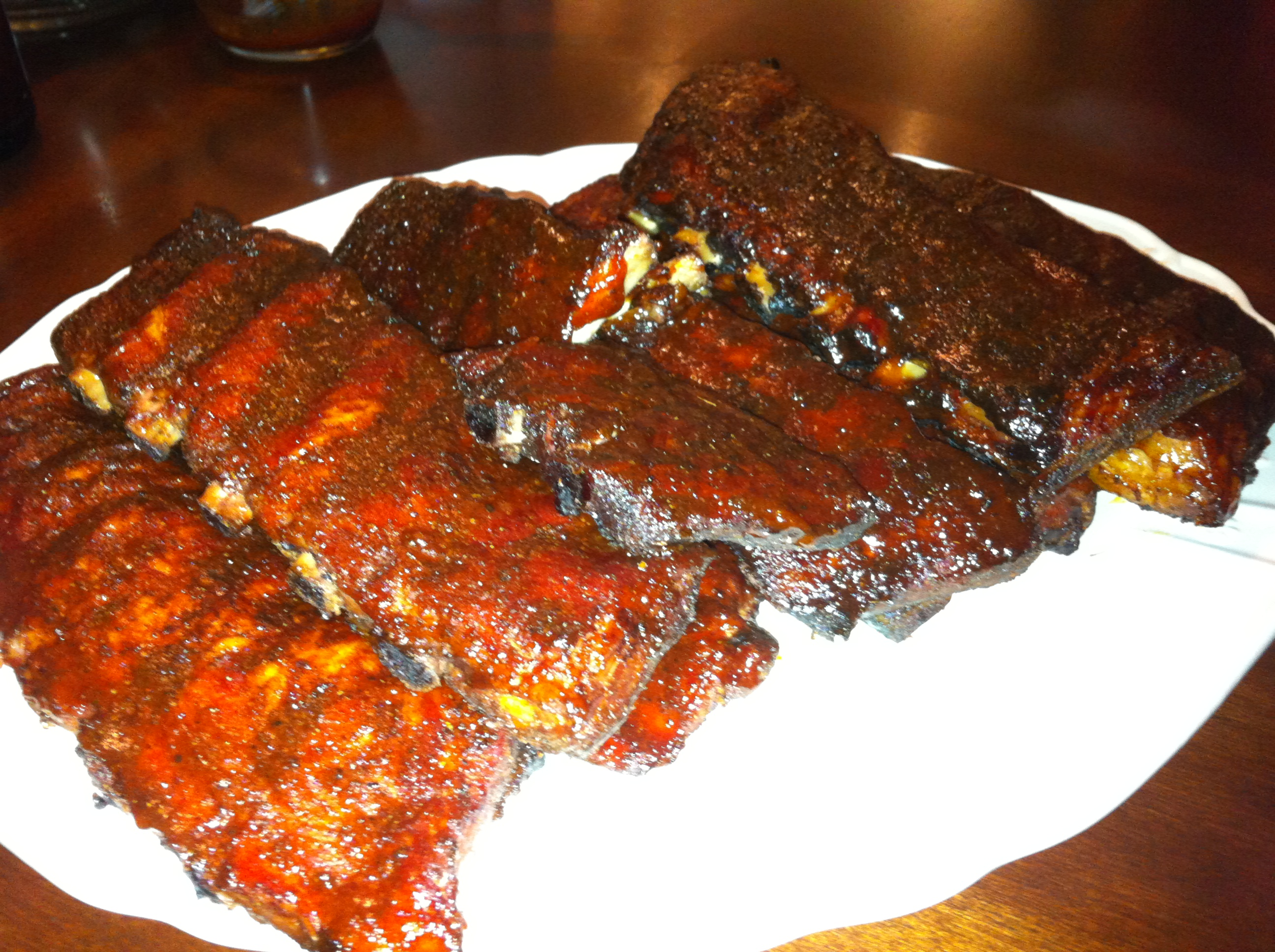 Big Green Egg Ribs ready to eat